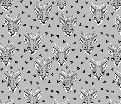 Deer - Slate by Andrea Lauren  fabric by andrea_lauren on Spoonflower - custom fabric