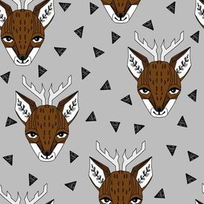 Deer - Slate and Brown by Andrea Lauren