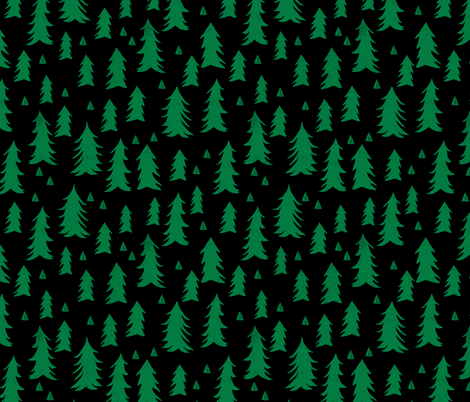 Forest Trees - Kelly Green and Black by Andrea Lauren  fabric by andrea_lauren on Spoonflower - custom fabric