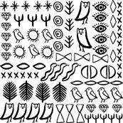 shapes // boho tribal aztec bird cactus desert tribal bird snake shapes eyes black and white