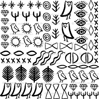 Shapes Boho Tribal Aztec Bird Cactus Desert Tribal Bird