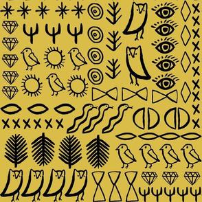 shapes // boho mustard owl bird cactus jewel hippie glyphs aztec
