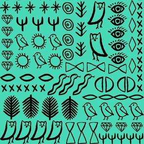 shapes // glyphs birds eyes jewel cactus southwest boho shapey marks