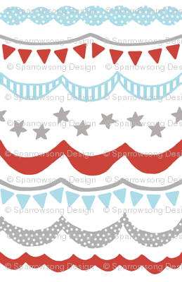 Carnival in Gray, Tomato Red and Sky Blue