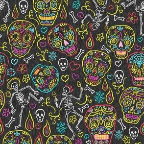 Sugar Skulls on Dark Gray Textured