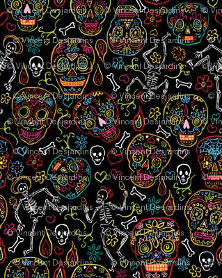 Sugar Skulls Black Large