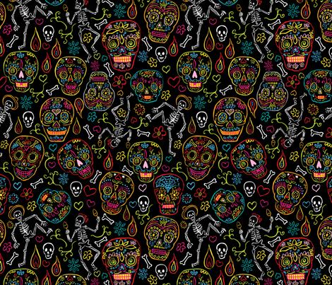 Sugar Skulls Black Large fabric by vinpauld on Spoonflower - custom fabric