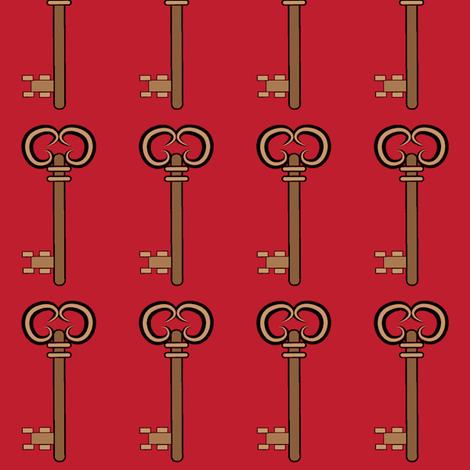 Steampunk Keys Red fabric by sherry-savannah on Spoonflower - custom fabric