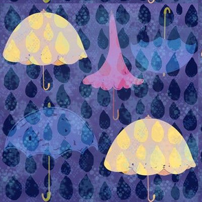 Umbrellas in rain