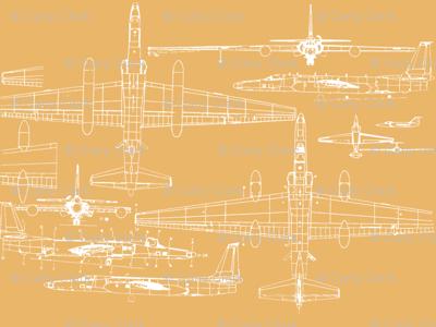 U-2 Schematic Line Drawing Gold
