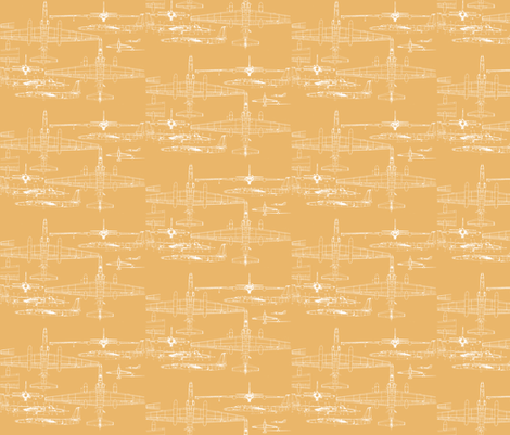 U-2 Schematic Line Drawing Gold fabric by rory_unraveled on Spoonflower - custom fabric