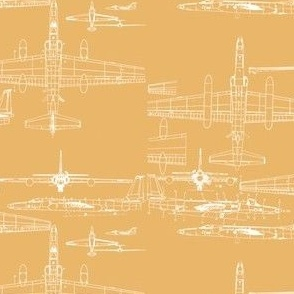 U-2 Schematic Line Drawing Gold
