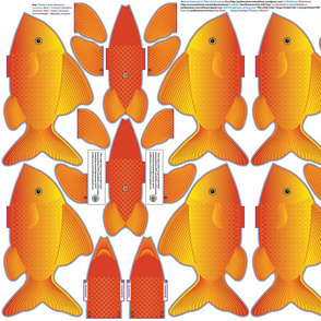 FINGER POCKET FISH 1 Gold Cut n Sew