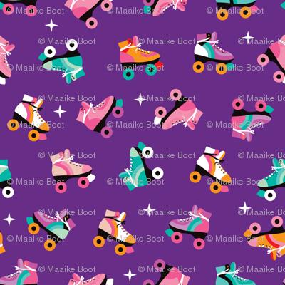Fun colorful retro roller skates disco fun vivid illustration print MEDIUM