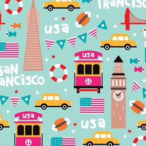 San Francisco Usa Travel Icons Colorful And Illustration Pattern