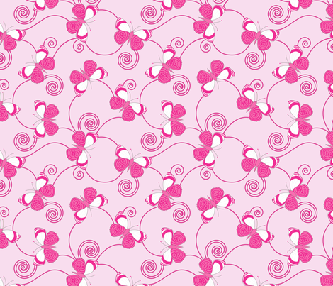 gueth_butterflies_pink fabric by juditgueth on Spoonflower - custom fabric