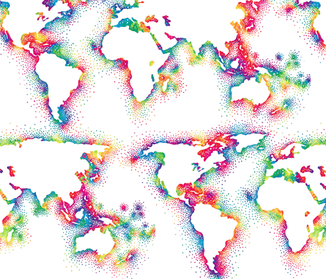 Rainbow World Map Fabric Weavingmajor Spoonflower