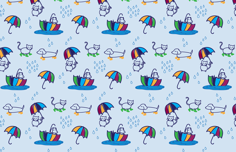 raining (cats and dogs) fabric by owls on Spoonflower - custom fabric