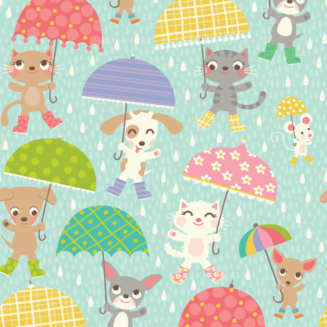 Umbrellas fabric by laura_mayes on Spoonflower - custom fabric