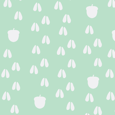 deer track acorn trail mint fabric by buckwoodsdesignco on Spoonflower - custom fabric