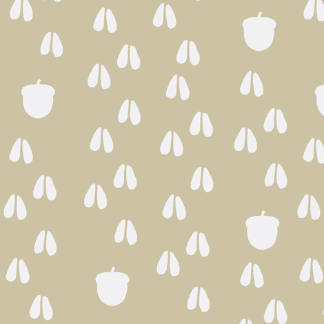 deer track acorn trail beige fabric by buckwoodsdesignco on Spoonflower - custom fabric