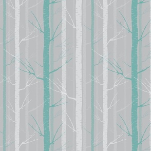 Birch Tree Forest - Blue