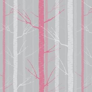 Birch Tree Forest - Pink
