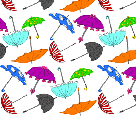 Sketchy Umbrellas fabric by art_rat on Spoonflower - custom fabric