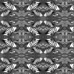 FISHES WAVES Black and White