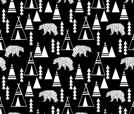 Teepee Forest fabric //- Black and White by Andrea Lauren fabric by andrea_lauren on Spoonflower - custom fabric