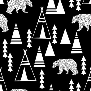 Teepee Forest fabric //- Black and White by Andrea Lauren