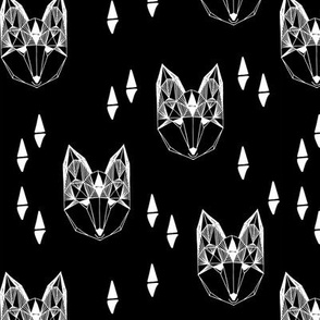Geometric Fox Head - Black and White by Andrea Lauren