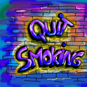 QUIT SMOKING BLUE PURPLE Pillow Panel