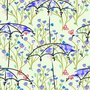 Umbrellas in a meadow - spring