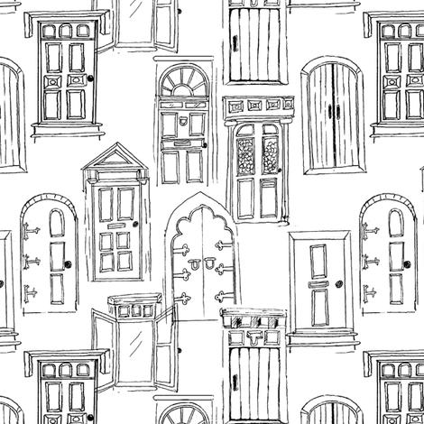 brownstones_white_black fabric by lpt-workshop on Spoonflower - custom fabric