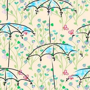 Umbrellas in a meadow - summer
