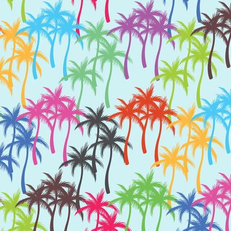 Colourful Palm Trees #2 fabric by ornaart on Spoonflower - custom fabric