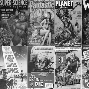 Pulp Fiction Sci Fi Black & White #1