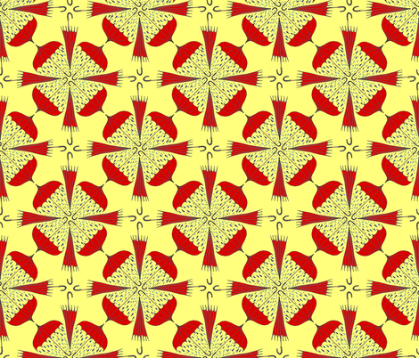 The Raining Red Umbrellas fabric by cinife on Spoonflower - custom fabric