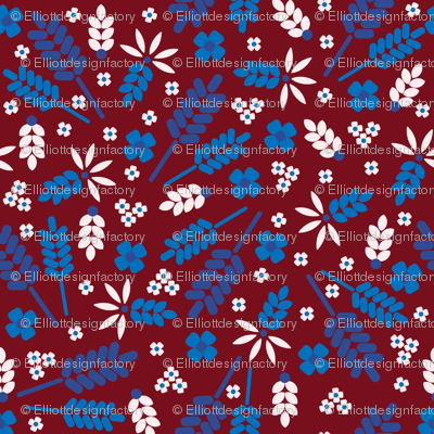 Ditsy Grains Floral in Red Brick