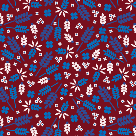 Ditsy Grains Floral in Red Brick fabric by elliottdesignfactory on Spoonflower - custom fabric