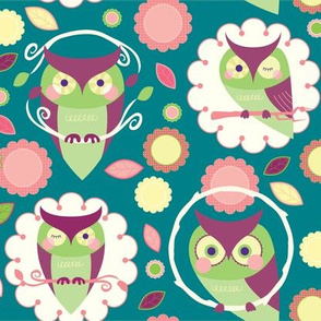 Owls and Flowers in Teal