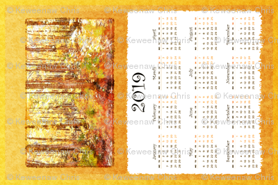 autumn birches 2019 calendar tea towel