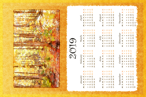 autumn birches 2019 calendar tea towel fabric by keweenawchris on Spoonflower - custom fabric