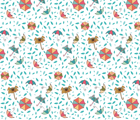 Raining Cats and Dogs fabric by pamela_hamilton on Spoonflower - custom fabric