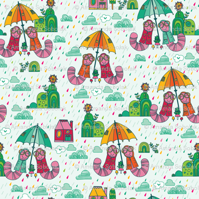 Worms with Umbrellas