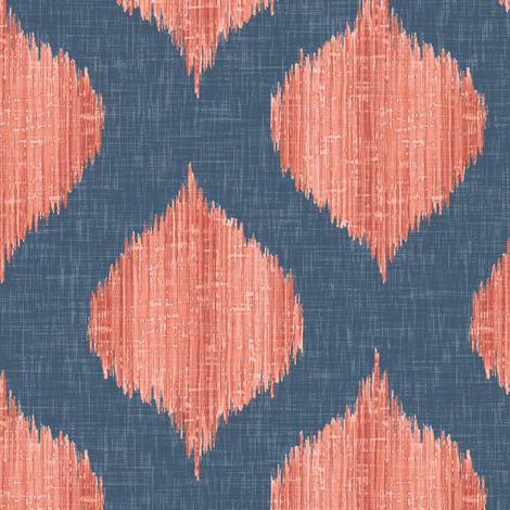 Lela Ikat // Navy and Coral fabric by willowlanetextiles on Spoonflower - custom fabric