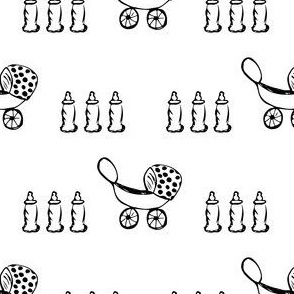 Baby Buggy & Bottles in Black and White