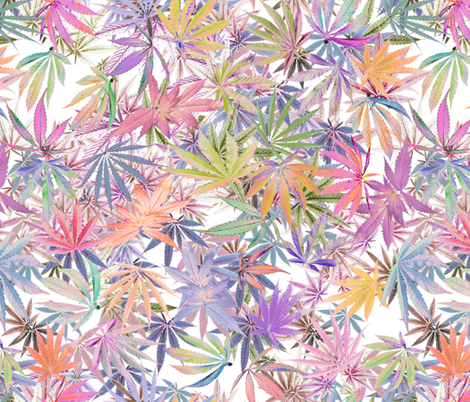Marijuana Leaf Glow fabric by camomoto on Spoonflower - custom fabric