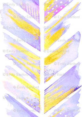 Watercolor Feather Chevron in Purple